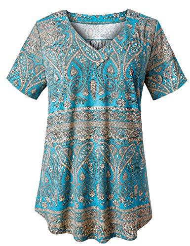 U.Vomade Women's Floral Tunics Plus Size Tops Short Sleeve V Neck Swing T-Shirt Multi Green 2XL