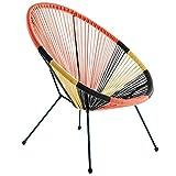 Sillón de diseño para Exterior de Rattan y Metal Multicolor, de 73x80x85 cm - LOLAhome