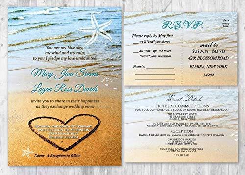 Beach Destination Wedding Invitation Starfish Ocean Invites Set of 50