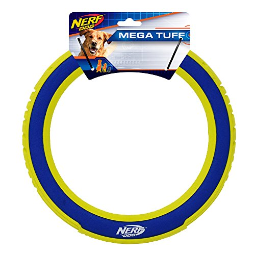 Nerf Dog Megaton Nylon Flyer Dog Toy, Frisbee, Lightweight, Durable and Water Resistant, 10 Inch Diameter, For Medium/Large Breeds, Single Unit, Blue/Green