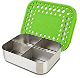 LunchBots Medium Quad Snack Container - Divided Stainless Steel Food Container - Four Sections for Finger Foods On the Go - Eco-Friendly, Dishwasher Safe - Stainless Lid - Green Dots