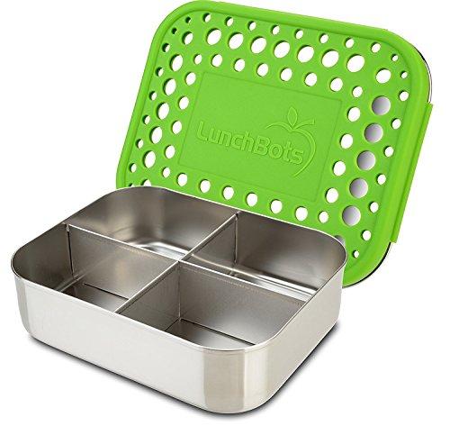 LunchBots Quad Edelstahl Nahrungsmittelbehälter – Vier Abschnitt Design Perfekt für gesunde Snacks, Beilagen oder Finger Foods – Umweltfreundlich, Spülmaschinenfest und BPA frei – Grün Gepunktet