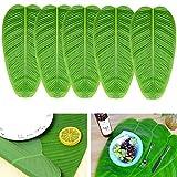 Udefineit - Camino de mesa artificial con hojas de plátano artificiales, color verde