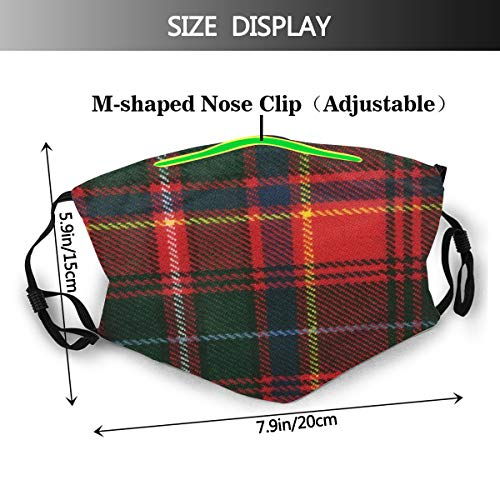 Innes Tartan Adjustable Earloop Face Mouth Anti Pollution Washable with 6 Filters