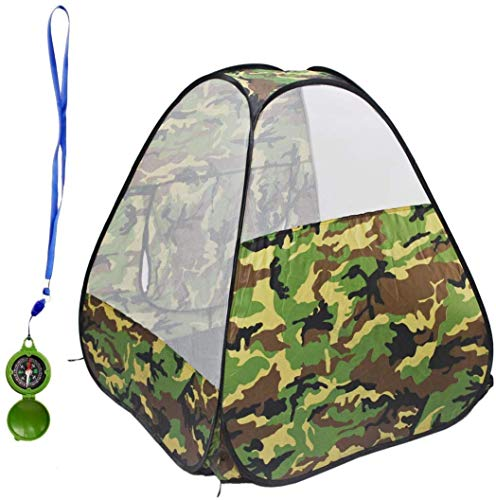 deAO Foldable Playhouse Tent & Toy Compass with Camouflage Design - Great Indoor Outdoor Gift for Kids