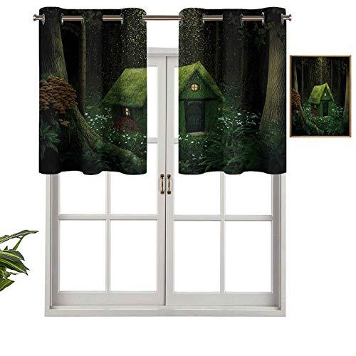 Cenefa de cortina opaca surrealista con ojales en el bosque encantado con diseño de elfos, juego de 2, 137 x 91 cm, tratamiento para ventanas para sala de estar