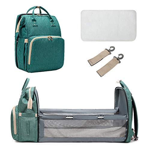 Bolsa de pañales para bebé, mochila multifuncional para bebé, cuna plegable portátil convertible, gran pañal, bolsa de bebé multifuncional, gran capacidad, impermeable, duradero (verde)