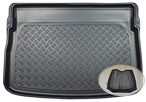 ZentimeX Z3348642 Geriffelte Kofferraumwanne fahrzeugspezifisch + Klett-Organizer (Laderaumwanne, Kofferraummatte)