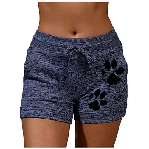 YANFANG Moda Mujer Pantalones Cortos, Deportivos Casuales de Secado rápido Imprimir Pantalones Cortos elásticos de Yoga, Transpirable,de Color sólido,ni Ajustado ni Holgado, Dark Blue,5XL