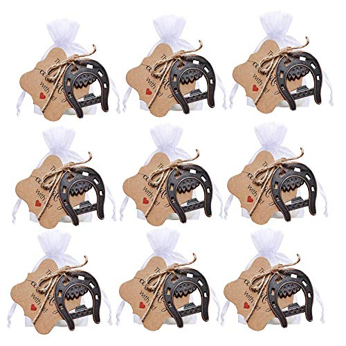 Awtlife 25 piezas de hierro fundido de herraduras de la suerte, abridor de herraduras con etiquetas, bolsa transparente para regalos de boda, decoración de fiesta
