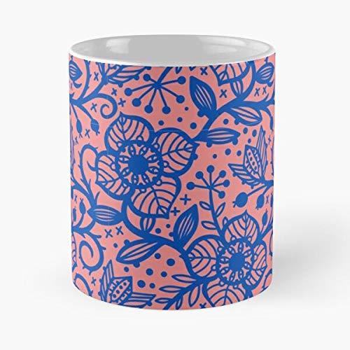 Hermoso patrón abstracto lindo flor azul rosa floral mejor taza de café de cerámica 11oz