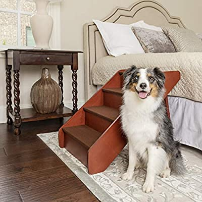 PetSafe CozyUp Folding Wood Pet Steps - PupSTEP Dog and Cat Stairs - Lightweight Durable Wooden Frame Supports up to 200 lb - Side Rails and Non-Slip Feet Provide Added Security - 25 inches