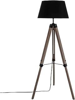 Atmosphera - Lámpara de pie, estilo industrial, madera, diseño de trípode, color negro
