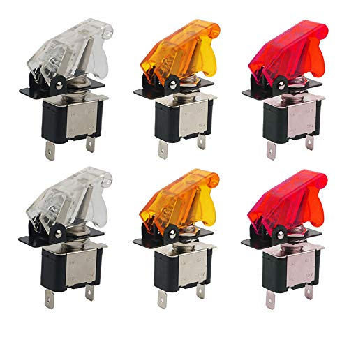 CESFONJER Luz LED Interruptor de Palanca SPST, Interruptor Basculantes 12V 20A con Luz de LED y Tapa de Color para Instalar Vehiculo, Barco ect (Rojo 2 piezas, Amarillo 2 piezas, Blanco 2 unid