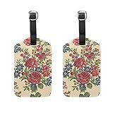 Etiquetas de equipaje con diseño floral para hombres y mujeres, cruceros, etiquetas personalizadas de privacidad para bolsa de viaje, maleta de piel, juego de 2 con hebilla