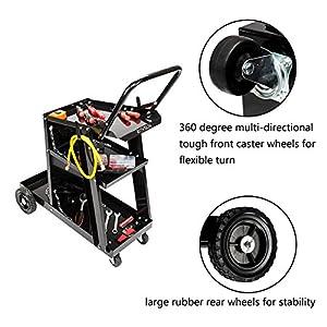Z ZTDM Professional Welding Cart Plasma Cutting Machine Trolley Welder Plasma Arc Cutting Equipment w/Universal Storage (w/4 drawers)