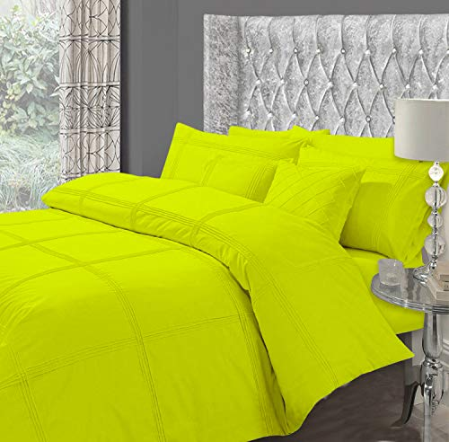 STARHOMEWARE Luxury Hotel Quality HAMLET Duvet/Quilt Cover & Pillowcases Bedding Set (Lime Green, Double)