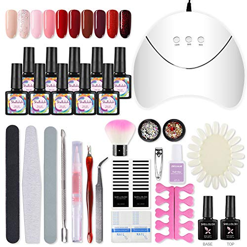 Shelloloh Gel Nagellak Starter Lamp Kit 36W LED Gel Nagel Lamp UV Droger Gel Polish Kit 10 Kleuren Losweken Gel Polish Top Base Coat 10ml Nail Art Design Manicure Tool Set