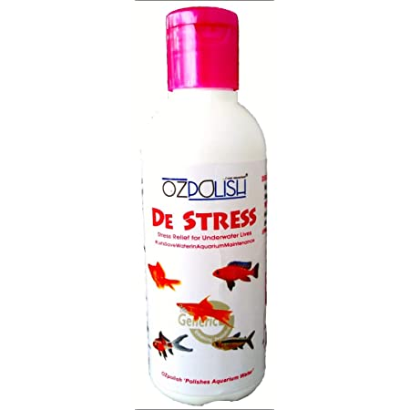 OZPOLISH De Stress by Aquatic Habitat   Chlorine and Heavy-Metals Remover   Reduce Ammonia   Heal-up Physical Injuries in Fishes (Wet; 100 ml)