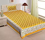 RajasthaniKart Comfort Rajasthani Jaipuri Traditional Sanganeri Print 144 TC Cotton Single Size Bedsheet with 1 Pillow Cover - Single_Bedsheet_Cloth_245(Floral,Yellow)