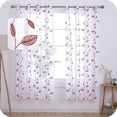 UMI. by Amazon 2 Stück Voile Vorhang Ösen Vorhänge Blätter Kinderzimmer Dekosachals Leinenoptik 175x140 cm Orange