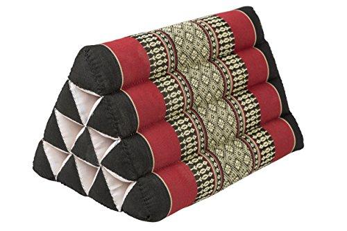 Pequeño cojín Thai triangular 33 x 20 cm cojín con relleno de kapok cojín triangular de Tailandia - Cojín decorativo y de soporte reposacabezas color negro y rojo