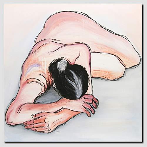 NOVAARTE Gemälde Acryl Original abstrakt modern Unikat Kunst Akt Malerei Acrylbild XXL handgemalt Leinwand bespannt auf Keilrahmen Erotik Acrylgemälde 80x80 cm gross