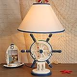 Syyshyin Personalidad De Madera Mediterránea Habitación Creativa For Niños Dormitorio Lámpara De Mesilla De Noche Cálido LED Protección For Los Ojos Estudio Estudio Lámpara De Mesa (Color : Natural)