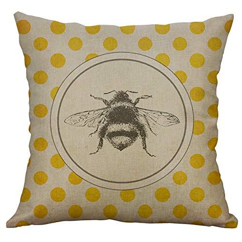 Xmiral Kissenhüllen Kissenbezüge Baumwolle Leinen Biene Drucken Retro 40 X 40cm Quadratischer Einfach Sofakissen Kopfkissenbezug (40 x 40 cm, D)