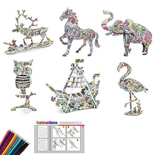 Puzzle 3D da colorare per bambini 3D Coloring Puzzle Set Art Colorazione 3D per bambini Ragazzi Bambini Ragazzi DIY Puzzle Kit di Compleanno con 12 Pennarelli