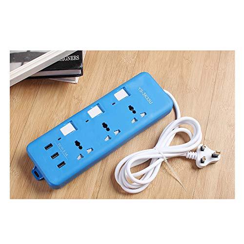 Lloow Placa De Extensión 3M con 3 Puertos USB, Tres Cables De Extensión De Tres Orificios De U, Tira De Red Múltiple para El Hogar, para El Hogar/Oficina/Dormitorio (EU/EE. UU. / Reino Unido),Azul,UK