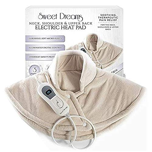 Sweet Dreams Electric Shoulder Heat Pad Therapeutic Soothing Adjustable Heating Wrap for Arthritis Pain Relief 60 x 62cm Beige