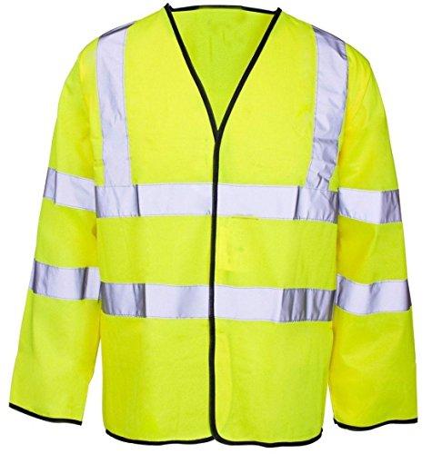 Islander Fashions Mens High Visibility Langarm Arbeitsschutz Weste Erwachsene wasserdichte Arbeitskleidung Fancy Coat Yellow 4X Large