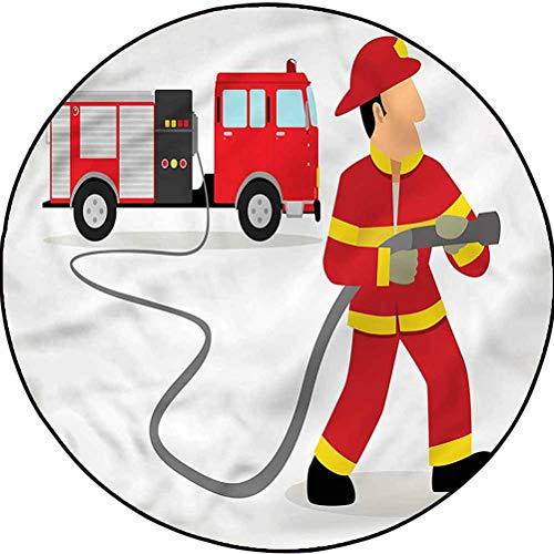Fire Truck Modern Trellis Area Rug Carpet Decor for Bedrooms, Dining Rooms Fireman Uniform and Hose Diameter 41 in(104cm)