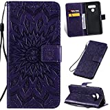KKEIKO Hülle für LG Q60, PU Leder Brieftasche Schutzhülle Klapphülle, Sun Blumen Design Stoßfest Handyhülle für LG Q60 - Violett