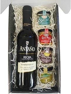 comprar comparacion Cesta Gourmet Deliex con Vino Rioja Antaño de 37,5 cl, 2 patés de Lomo Ibérico 30 g y Paté al Pedro Ximénez 30 g, 2 Cremas...