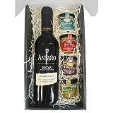 Cesta Gourmet Deliex con Vino Rioja Antaño de 37,5 cl, 2 patés de Lomo Ibérico 30 g y Paté al...