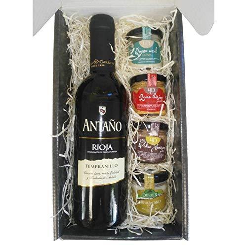 Cesta Gourmet Deliex con Vino Rioja Antaño de 37,5 cl, 2 patés...