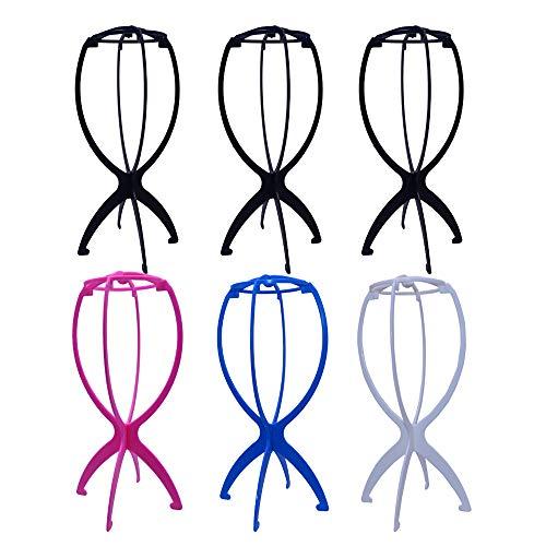 6 Pcs Support de Perruque, Anself Support en Plastique Pliable pour Perruque/Chapeau, Affichage Outil Stable Sèche-perruque, Perruque Présentoir Mannequin Dummy Head Cap Porte-Cheveux - Multicolore