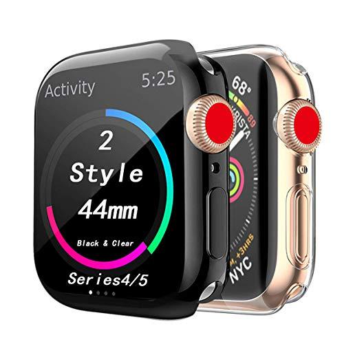 (2 Stück)Cerike Kompatibel mit Apple Watch Series 5/Series 4 44mm Displayschutz, Soft Slim FullAround Protective hülle Schutzhülle für iWatch Series 5/Series 4 SmartWatch (44MM, Klar+schwarz)