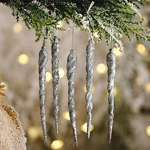QOOY Xmas Balls3/6/12Pcs Christmas Decorations for Home Simulation Ice Xmas Tree Hanging Ornament Fake Icicle Props New Year 2021-Glitter Silver_12Pcs