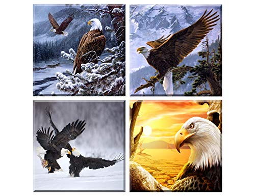 Animal World Series Flying Eagles Canvas Wall Art Paintings Bald Eagle in flight Pictures Artworks for Bedroom Living Room Decoration,Framed, 4 Panels/set Ready to hang (12x12inches*4pcs)