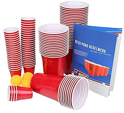 Ultimate Beer Pong Party Paquet   50Party Tasse avec ballons rouges et Shot Cups   avec 3balles de Beer Pong   avec 50Red Cup shots & Cadre   Beer Pong Party Cups   Extra Forte Bier Pong Tasse Gobelet Tasse Rouge   Plastique   Plastique