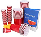 Ultimate Beer Pong Party Paket | 50 Rote Partybecher | inkl. 50 Red Cup Shots, 3 Bälle & Regelwerk | Beer Pong Party Cups | Extra Starke | Plastikbecher (50 Becher, 50 Shots & 3 Bälle)