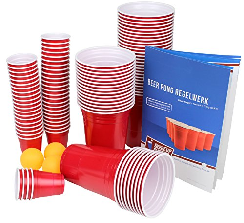 Ultimate Beer Pong Party Paket | Rote Partybecher mit Bällen & Shot Cups | Beer Pong Party Cups | Extra Starke Becher Rot | Kunststoffbecher | Plastikbecher (50 Becher, 50 Shots & 3 Bälle)