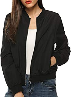 Ladies Womens Bomber Jacket Classic Quilted Jacket Short Coat Zip Outwear Autumn