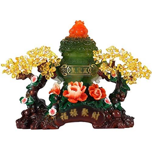 Árbol del dinero bonsai feng shui Citrino Árbol de Cristal Piedras preciosas Cristal Chakra árbol Cornucopia con los ornamentos propiedades curativas Bonsai Feng Shui del árbol del dinero curación y l