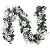 Valery Madelyn Pre-Lit 6 Feet Frozen Winter Silver White Christmas Garland with Shatterproof Ball Ornaments, Snowflakes and Silver White Leaves, Battery Operated 20 LED Lights