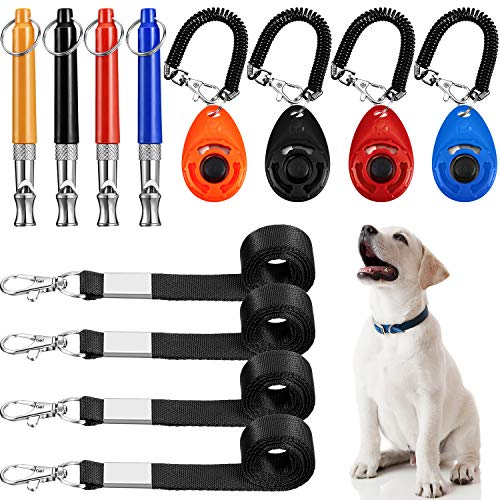 Frienda 12 Pieces DogWhistleLanyard Set, Pet Training Clicker Dog Silent Whistle Adjustable Pitch Dog Training Tool with Lanyard for Dog Recall Repel Silent Training, 4 Colors