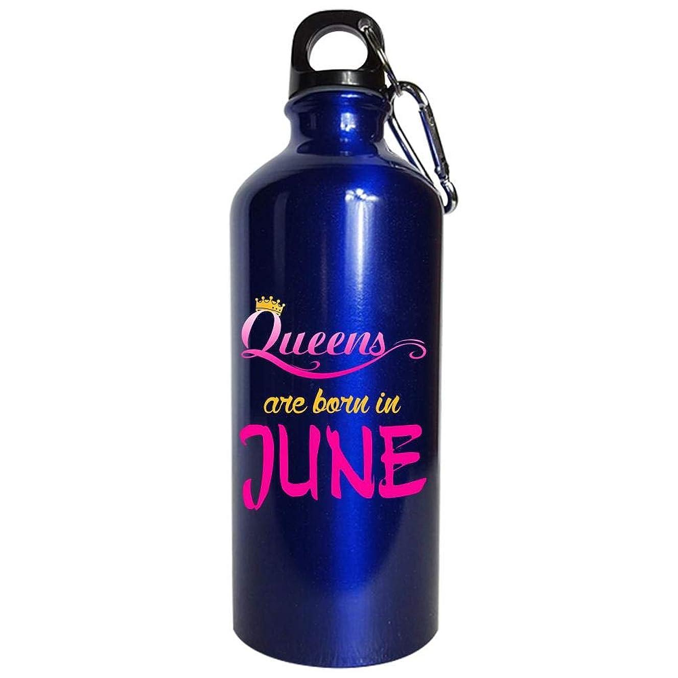 Gemini Water Bottle Metallic Blue - Queens are Born in June - Zodiac Signs Gifts